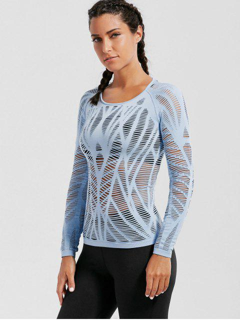 womens Long Sleeve Sheer Ripped Sports T-shirt - LIGHT BLUE S Mobile