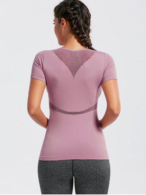 online Mesh Openwork Breathable Fitness T-shirt - DEEP PINK S Mobile