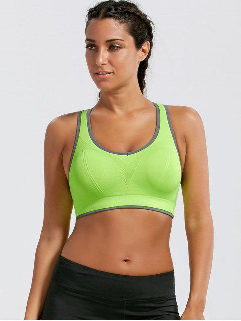 outfits Paded Racerback High Impact Sports Bra - BRIGHT YELLOW S Mobile