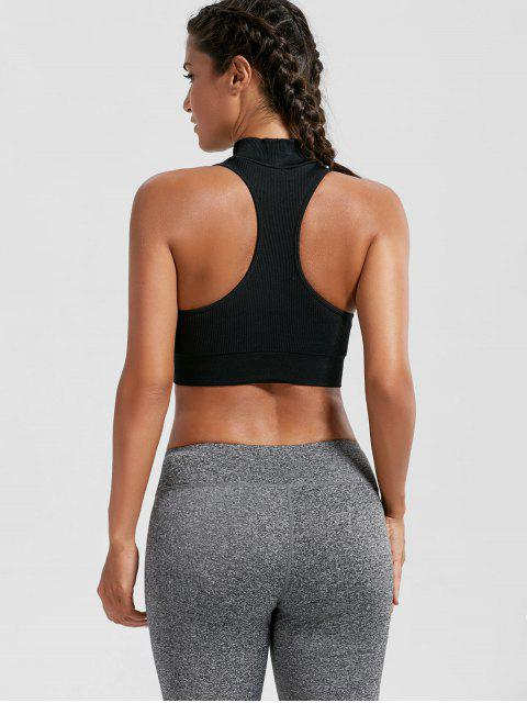 chic Padded High Neck Crop Sports Bra Top - BLACK S Mobile