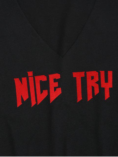 T-shirt en vrac - Noir L Mobile