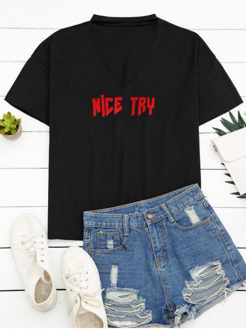 trendy Loose Choker Letter T-Shirt - BLACK L Mobile