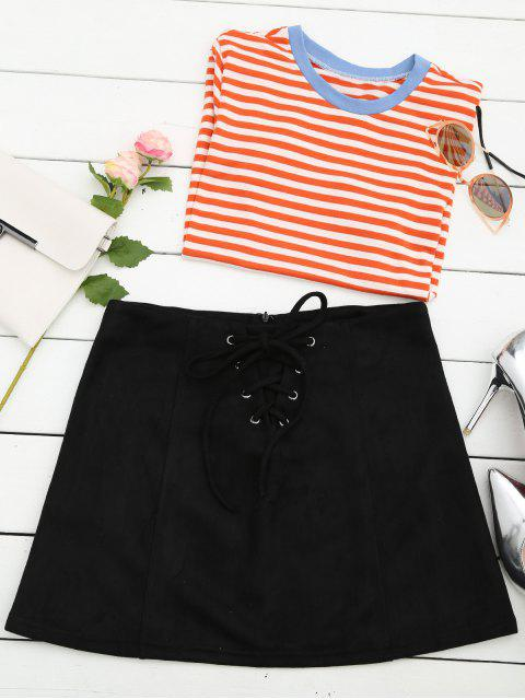 affordable Lace Up Faux Suede Mini Skirt - BLACK S Mobile