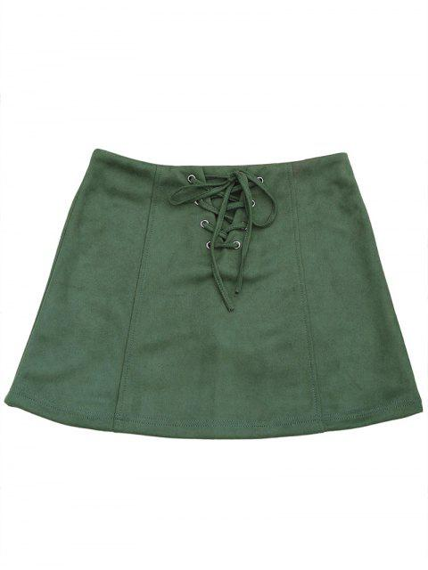 ladies Lace Up Faux Suede Mini Skirt - ARMY GREEN S Mobile