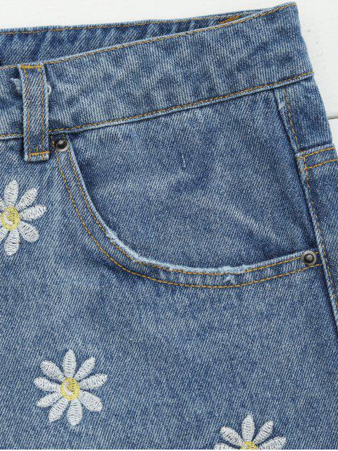 Shorts Denim Brodés - Denim Bleu S Mobile