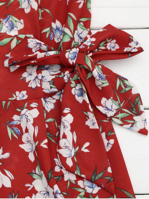 unique Bowknot Floral Chiffon Romper - RED M Mobile