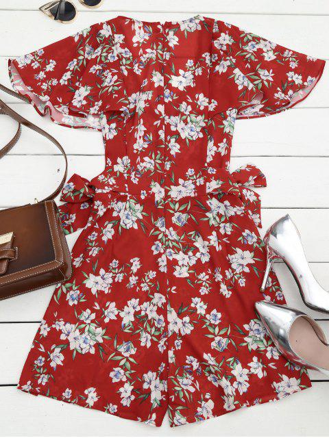 sale Bowknot Floral Chiffon Romper - RED L Mobile