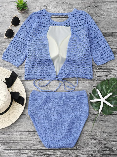 ladies Padded Crochet Crop Top and Bikini Bottoms - BLUE ONE SIZE Mobile
