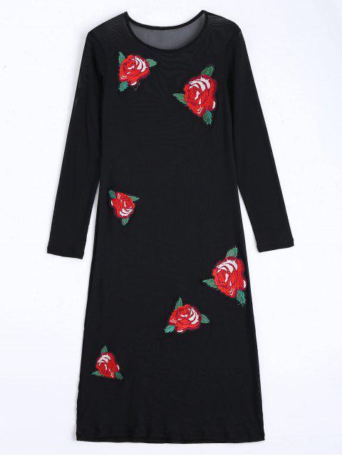 shops Floral Applique Sheer Mesh Club Dress - BLACK M Mobile