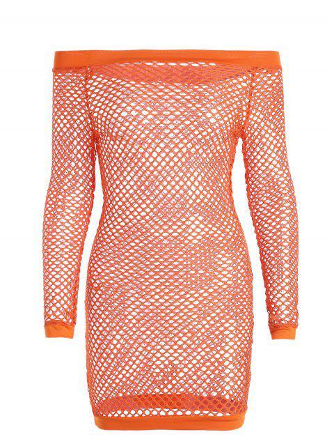 unique Off Shoulder Fishnet Beach Cover Up Dress - ORANGE M Mobile