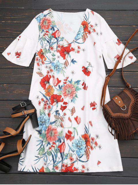 Robe Droite Florale à Manches Papillon - Floral M Mobile