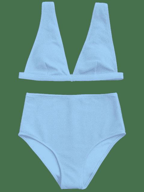 fancy Textured Plunge High Waisted Bikini Set - LIGHT BLUE S Mobile