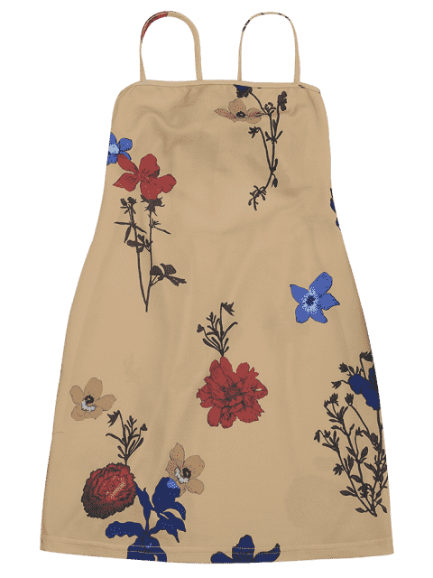shops Backless Flower Cami Dress - FLORAL XL Mobile