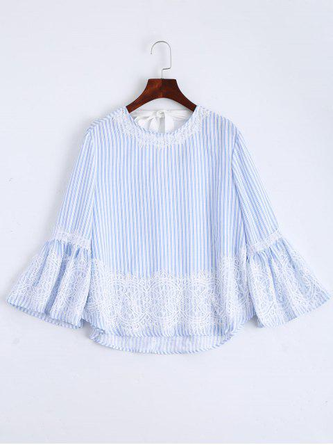 fashion Flare Sleeve Stripes Lace Panel Blouse - STRIPE L Mobile