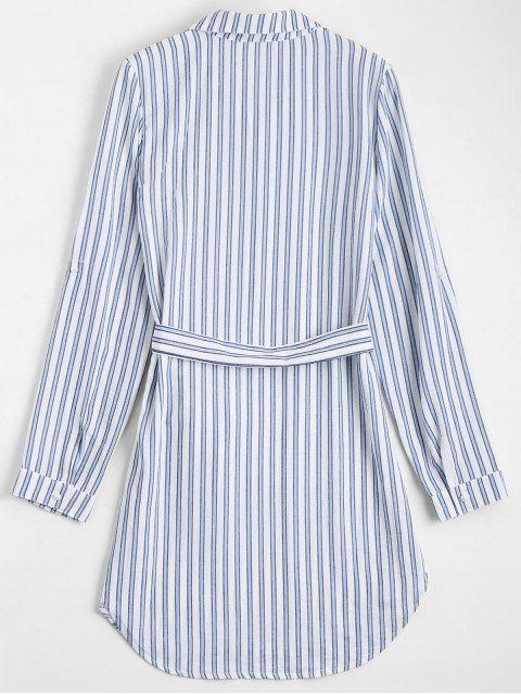 Robe Chemise Manches Longues Rayée à Ceinture - Rayure XL Mobile