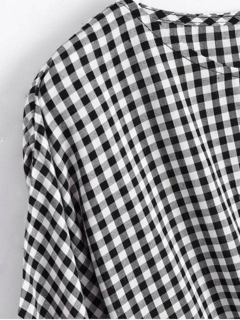 women Round Neck Plaid Front Tied Blouse - CHECKED L Mobile