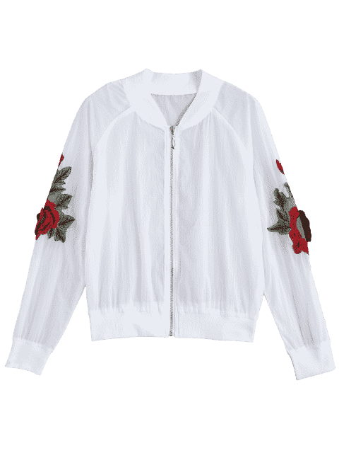 hot Floral Patched Zip Up Jacket - WHITE S Mobile