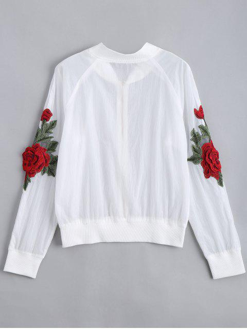 shop Floral Patched Zip Up Jacket - WHITE XL Mobile