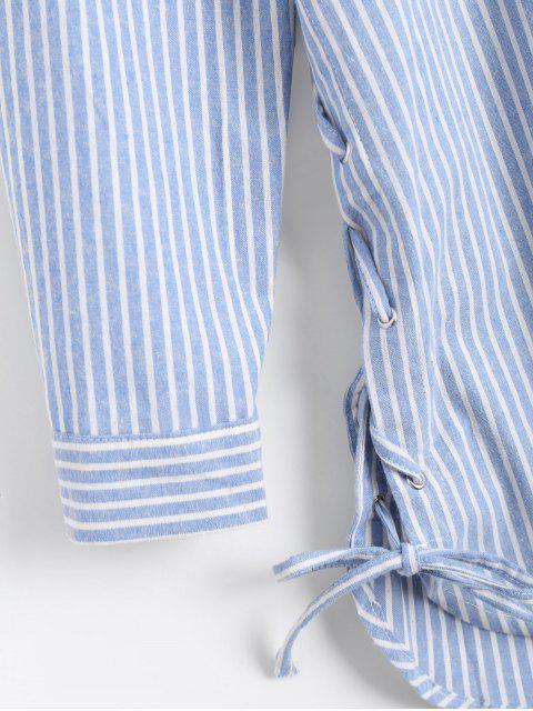 Chemise à l'aile à rayures longues et à lacets - Bleu et Blanc L Mobile