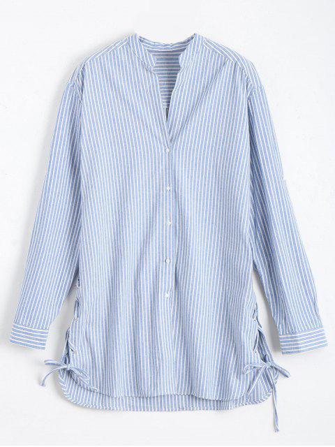 new Longline Side Lace Up Striped Boyfriend Shirt - BLUE AND WHITE L Mobile