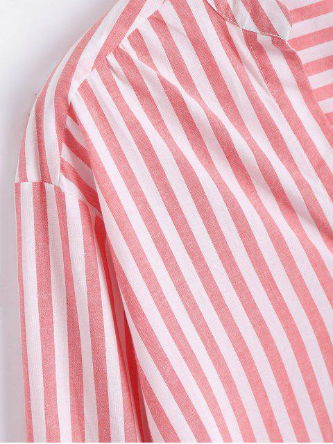 shop Longline Side Lace Up Striped Boyfriend Shirt - RED AND WHITE S Mobile