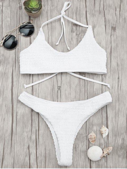 online Padded Smocked Bralette Bikini Set - WHITE M Mobile