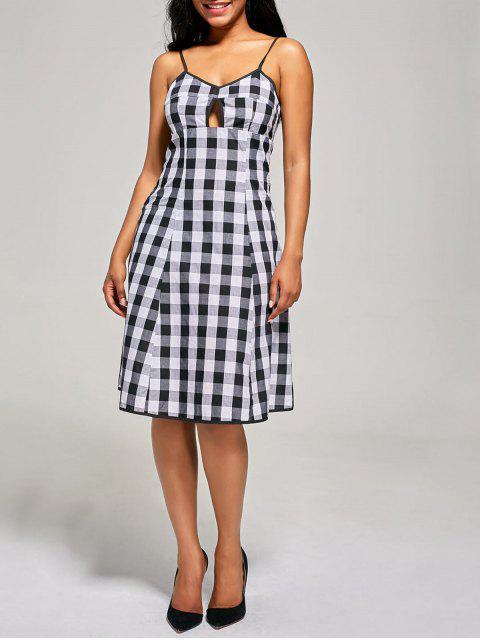 latest Empire Waist Hollow Out Tartan Cami Dress - BLACK WHITE 2XL Mobile