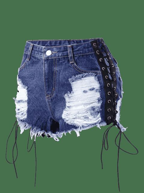 Shorts denim en dentelle en dentelle - Denim Bleu L Mobile