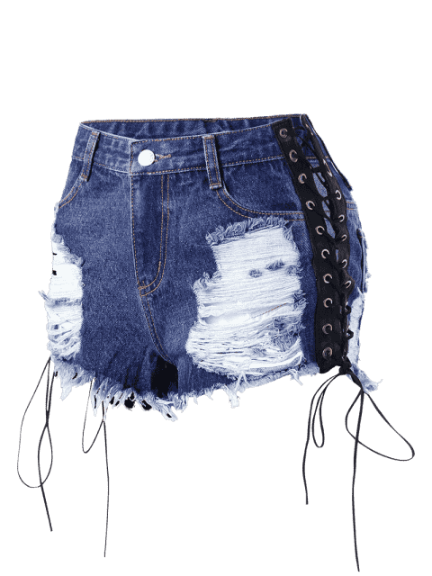 women Lace Up Frayed Distressed Denim Shorts - DENIM BLUE 2XL Mobile
