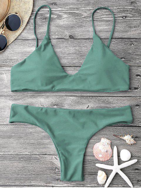lady Adjustable Straps Padded Bralette Bikini Set - ARMY GREEN S Mobile