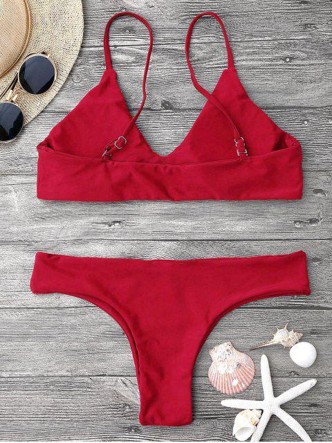 best Adjustable Straps Padded Bralette Bikini Set - RED L Mobile
