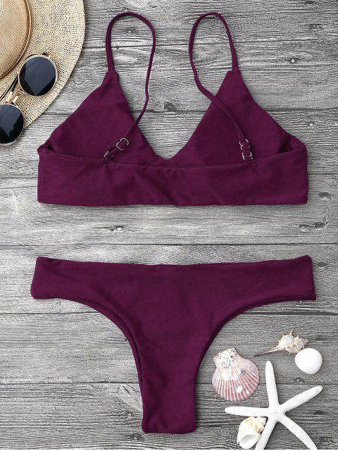 outfits Adjustable Straps Padded Bralette Bikini Set - MERLOT M Mobile