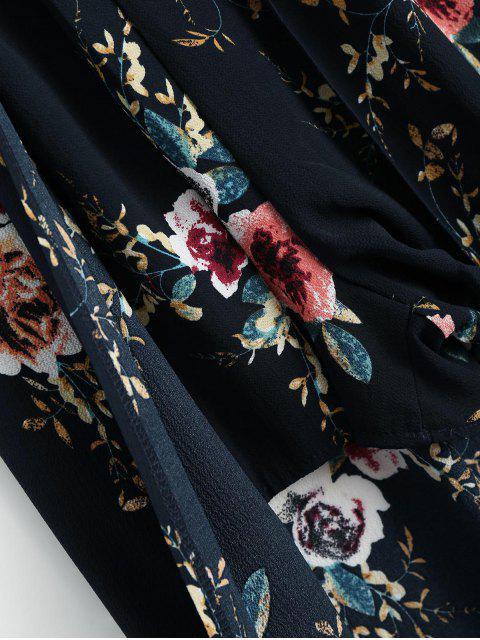 outfit Floral Print Cami Maxi Romper - PURPLISH BLUE L Mobile