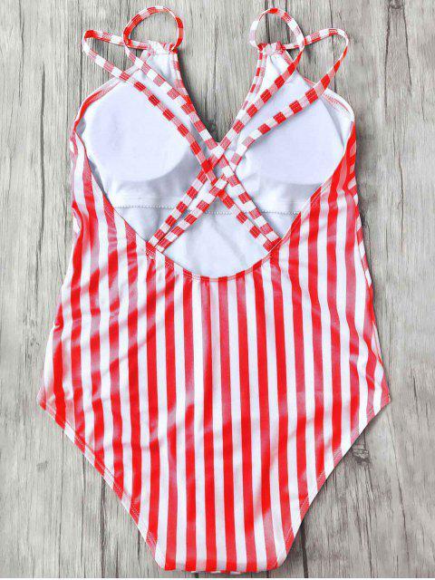 Maillot de Bain 1 Pièce Amincissant Rayé à Bretelles Doublés - Rouge et Blanc M Mobile
