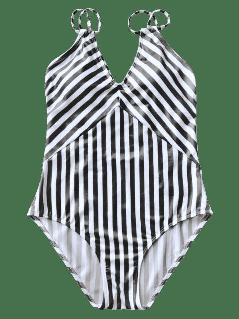 Maillot de Bain 1 Pièce Amincissant Rayé à Bretelles Doublés - Blanc et Noir L Mobile