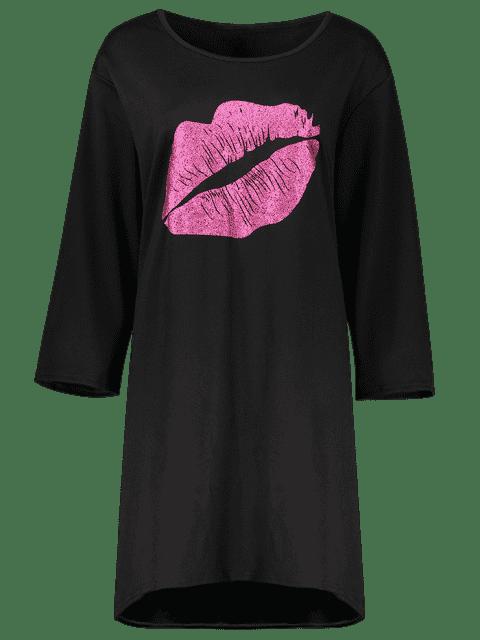 online Lip Print Plus Size Shift Dress - BLACK 3XL Mobile