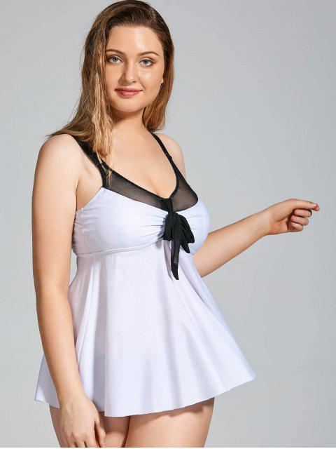 Plus Size Padded Dressful Blouson Tankini - Blanc 5XL Mobile