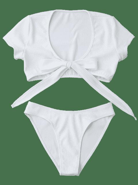 shops Knot Front High Cut Bathing Suit - WHITE L Mobile