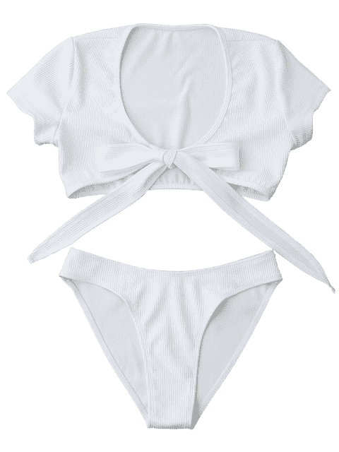 latest Knot Front High Cut Bathing Suit - WHITE M Mobile