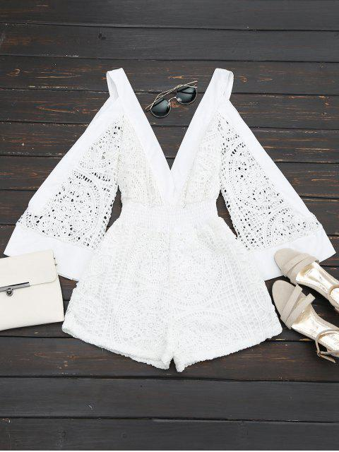 outfit Plunging Neck Cold Shoulder Hollow Out Romper - WHITE XL Mobile