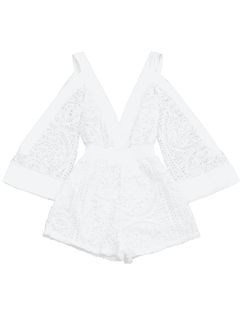 shop Plunging Neck Cold Shoulder Hollow Out Romper - WHITE S Mobile