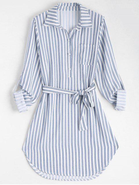 online Belted Striped Long Sleeve Shirt Dress - STRIPE M Mobile