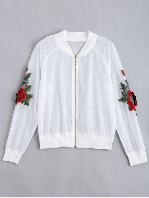 outfits Floral Patched Zip Up Jacket - WHITE L Mobile