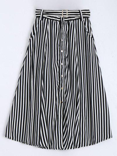 Single Breasted Belted Striped Tea Length Skirt - White And Black