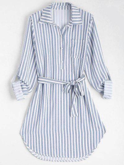 Belted Striped Long Sleeve Dress - Stripe S