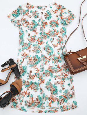 Floral Patched Sheer Mesh Dress