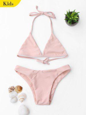 Halter bikini rose de lacets pour les filles