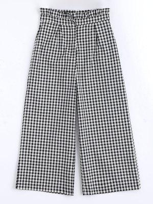 Plaid Ruffles Wide Leg Pants