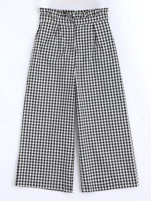 Plaid Ruffles Wide Leg Pants - Checked S