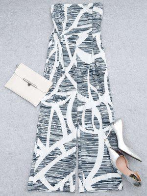 Combinaison à Jambe Large Sans Bretelles Imprimée - Blanc M